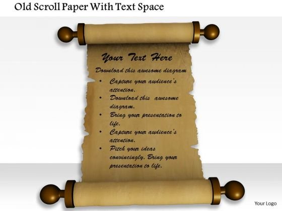 Stock Photo Old Scroll Paper With Text Space PowerPoint Slide