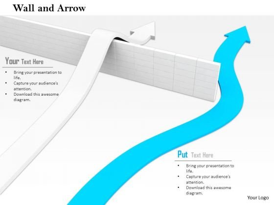 Stock Photo One Arrow Moving Above The Wall And Other Besides PowerPoint Slide