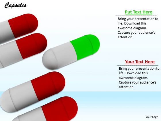 Stock Photo One Green Capsule Standing Out PowerPoint Slide