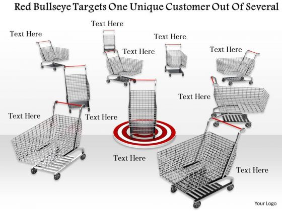 Stock Photo One Unique Shopping Cart On Red Dartboard PowerPoint Slide