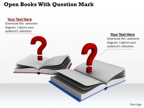 Stock Photo Open Books With Question Marks PowerPoint Template