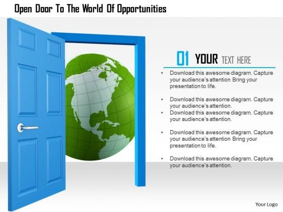 Stock Photo Open Door To The World Of Opportunities PowerPoint Slide
