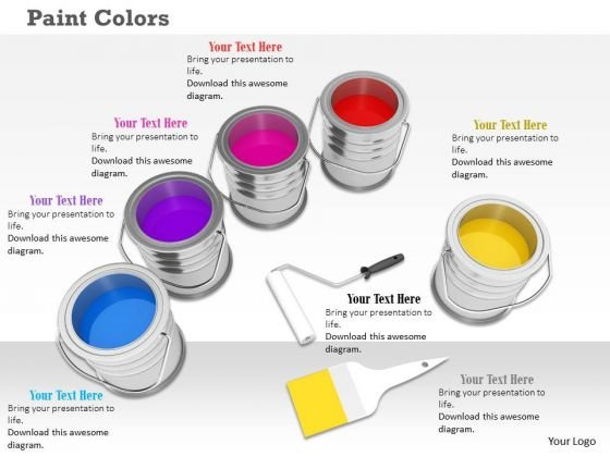 Stock Photo Paint Color Tins PowerPoint Slide