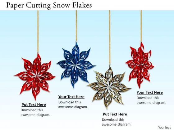 Stock Photo Paper Cutting Snow Flakes PowerPoint Slide