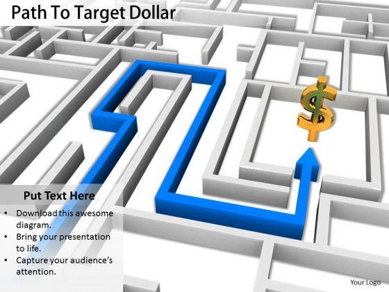 Stock Photo Path To Target Dollar Symbol PowerPoint Slide