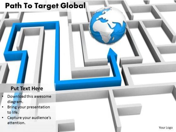 Stock Photo Path To Target Globe PowerPoint Slide