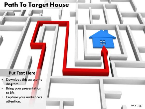 Stock Photo Path To Target House PowerPoint Slide