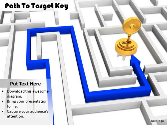 Stock Photo Path To Target Key PowerPoint Slide