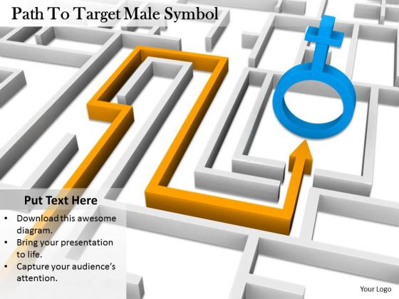 Stock Photo Path To Target Male Symbol PowerPoint Slide