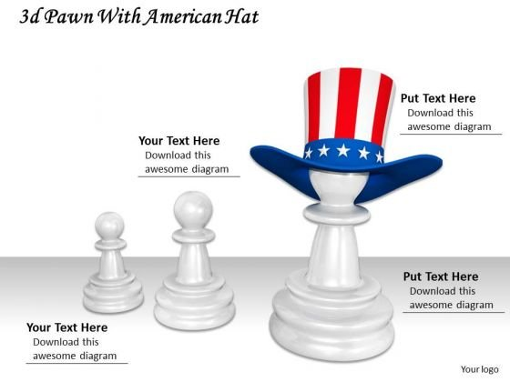 Stock Photo Pawns With American Flag Hat PowerPoint Slide