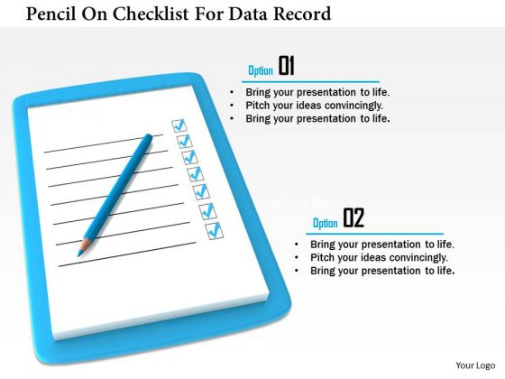 Stock Photo Pencil On Checklist For Data Record PowerPoint Slide