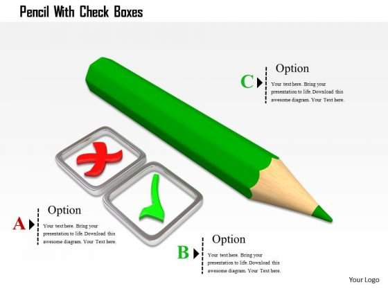 Stock Photo Pencil With Check Boxes PowerPoint Slide