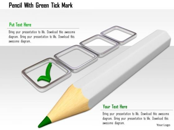 Stock Photo Pencil With Green Tick Mark PowerPoint Slide