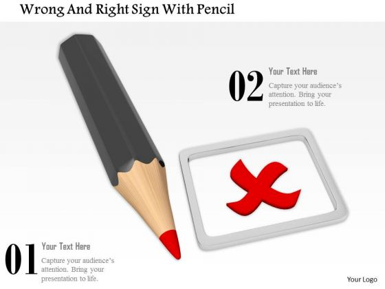 Stock Photo Pencil With Red Wrong Sign PowerPoint Slide
