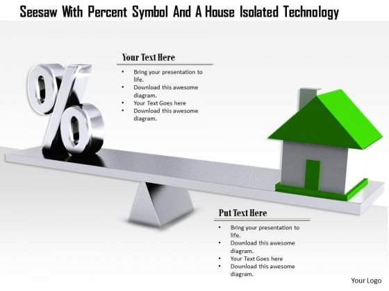 Stock Photo Percent Symbol With House On Seesaw For Real Estate PowerPoint Slide