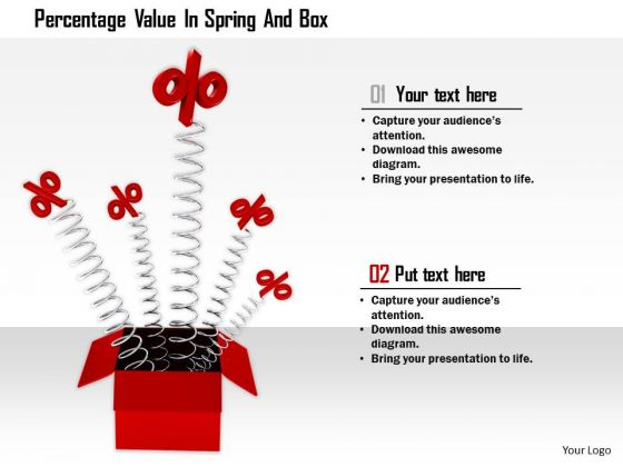 Stock Photo Percentage Value In Spring And Box PowerPoint Slide