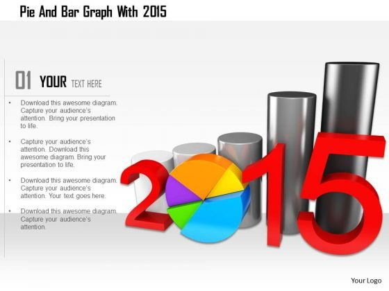Stock Photo Pie And Bar Graph With 2015 PowerPoint Slide