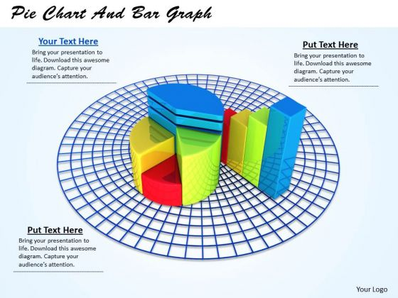 Stock Photo Pie Chart And Bar Graph PowerPoint Template