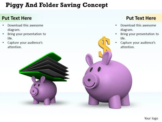 Stock Photo Piggy Bank And Folder Saving Concept PowerPoint Slide