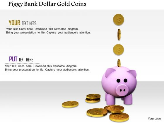 Stock Photo Piggy Bank Dollar Gold Coins PowerPoint Slide