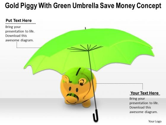 Stock Photo Piggy Bank Under Green Umbrella PowerPoint Slide