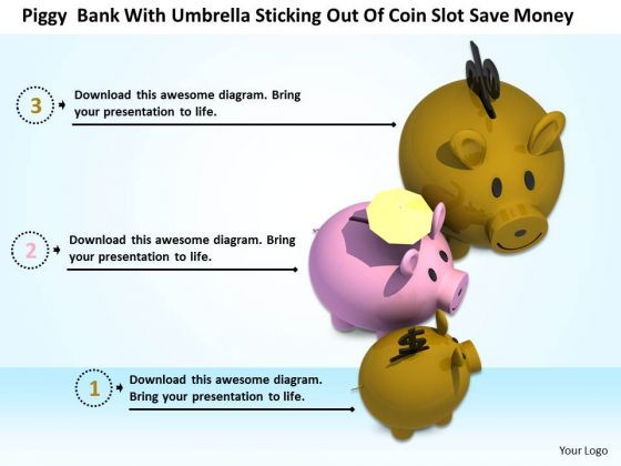 Stock Photo Piggy Bank With Currency Symbols And Umbrella PowerPoint Slide