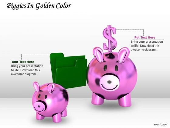 Stock Photo Piggy Banks Green Folder PowerPoint Slide