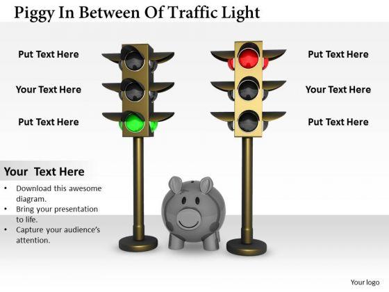 Stock Photo Piggy In Between Traffic Lights PowerPoint Slide