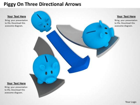 Stock Photo Piggy On Three Directional Arrows PowerPoint Slide