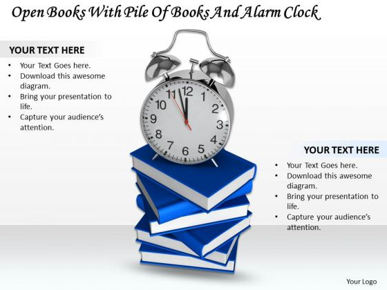 Stock Photo Pile Of Books And Alarm Clock PowerPoint Slide
