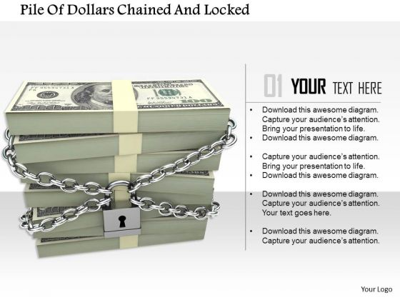 Stock Photo Pile Of Dollars Chained And Locked PowerPoint Slide
