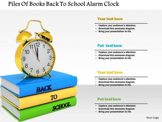 Stock Photo Piles Of Books Back To School Alarm Clock PowerPoint Slide
