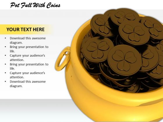 Stock Photo Pot Full With Coins PowerPoint Template