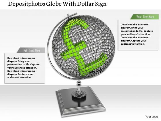 Stock Photo Pound Symbol Over Globe Finance Concept PowerPoint Slide
