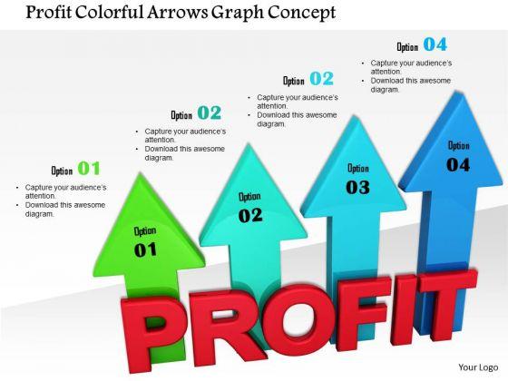 Stock Photo Profit Colorful Arrows Graph Concept PowerPoint Slide