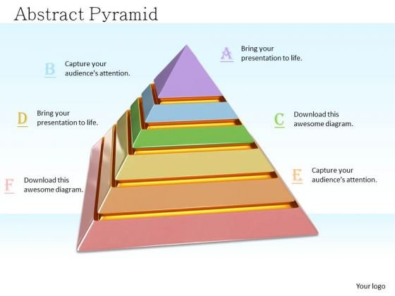Stock Photo Pyramid With Colorful Segments PowerPoint Slide