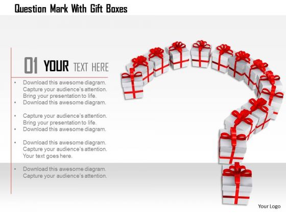 Stock Photo Question Mark With Gift Boxes Image Graphics For PowerPoint Slide