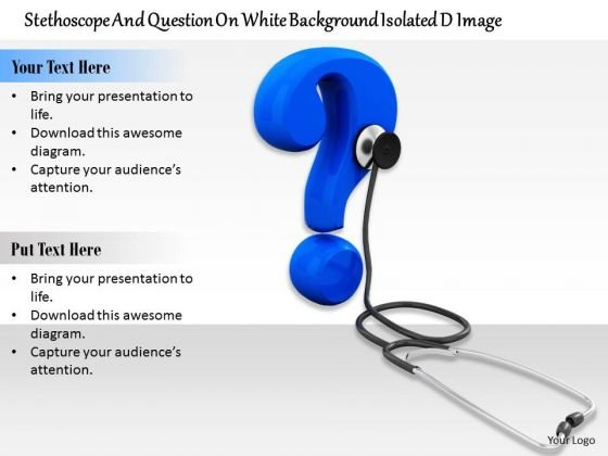 Stock Photo Question Mark With Stethoscope Medical Theme PowerPoint Slide