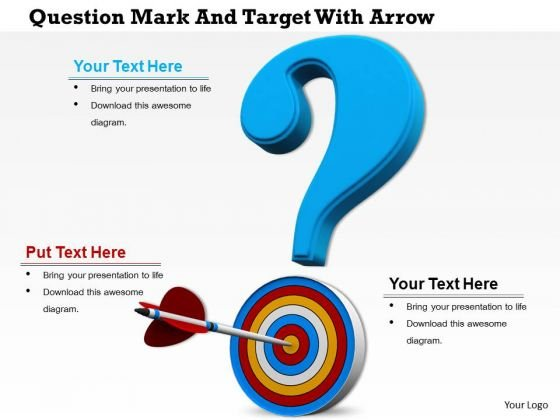 Stock Photo Questionmark With Arrow On Target PowerPoint Slide