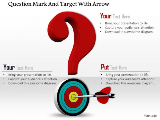Stock Photo Questionmark With Target And Arrow PowerPoint Slide