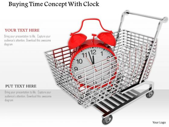 Stock Photo Red Alarm Clock In Shopping Cart PowerPoint Slide