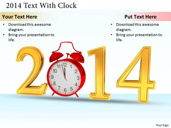 Stock Photo Red Alarm Clock With Golden Text Of 2014 PowerPoint Slide