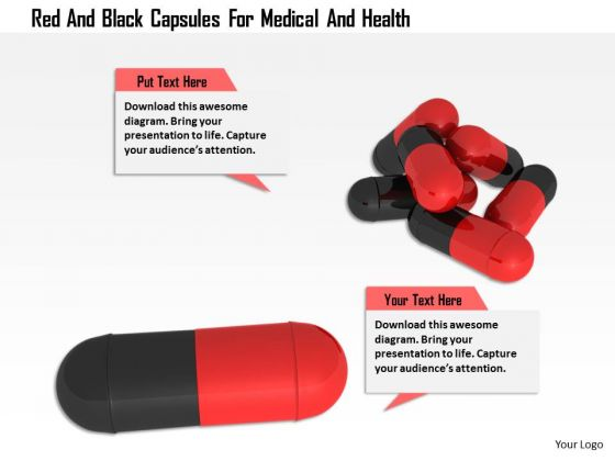 Stock Photo Red And Black Capsules For Medical And Health PowerPoint Slide