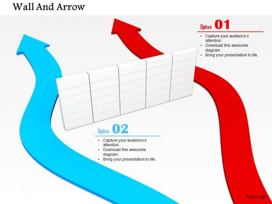 Stock Photo Red And Blue Arrow Passing Besides The Wall PowerPoint Slide