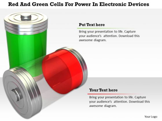 Stock Photo Red And Green Cells For Power In Electronic Devices PowerPoint Slide