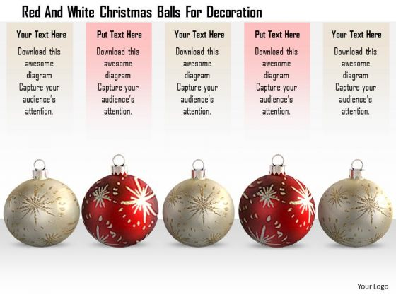 Stock Photo Red And White Christmas Balls For Decoration PowerPoint Slide