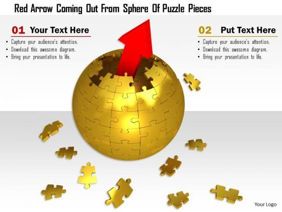 Stock Photo Red Arrow Coming Out From Sphere Of Puzzle Pieces PowerPoint Slide