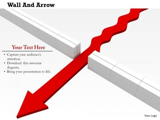 Stock Photo Red Arrow Crossing From Center Of The Wall PowerPoint Slide