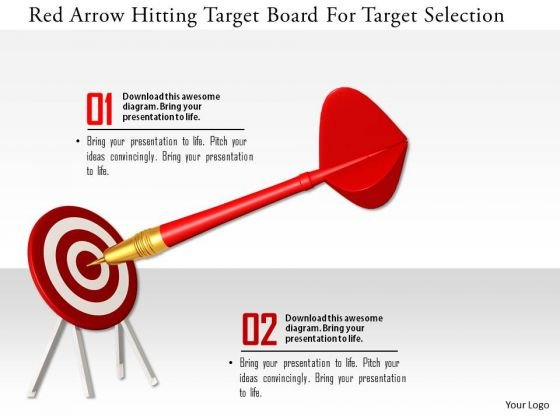 Stock Photo Red Arrow Hitting Target Board For Target Selection PowerPoint Slide