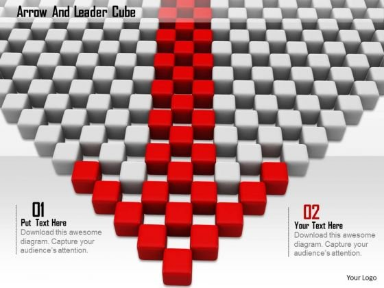 Stock Photo Red Arrow Made Of Cubes PowerPoint Slide